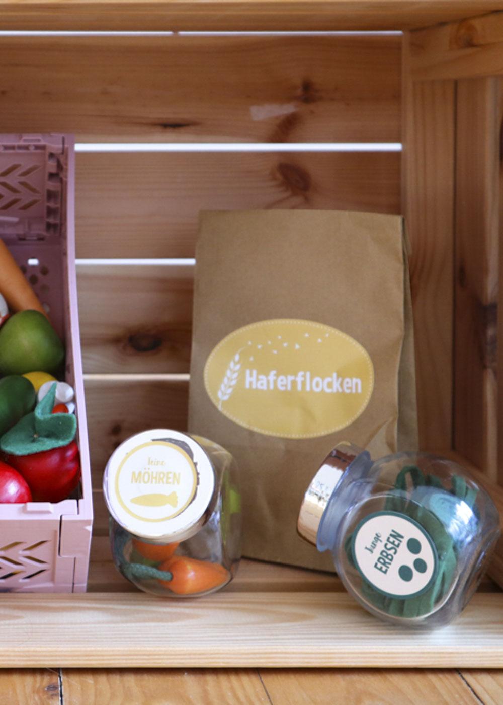 Stickerset Kinderküche Kaufladen Zubehör Läcker Haferflocken