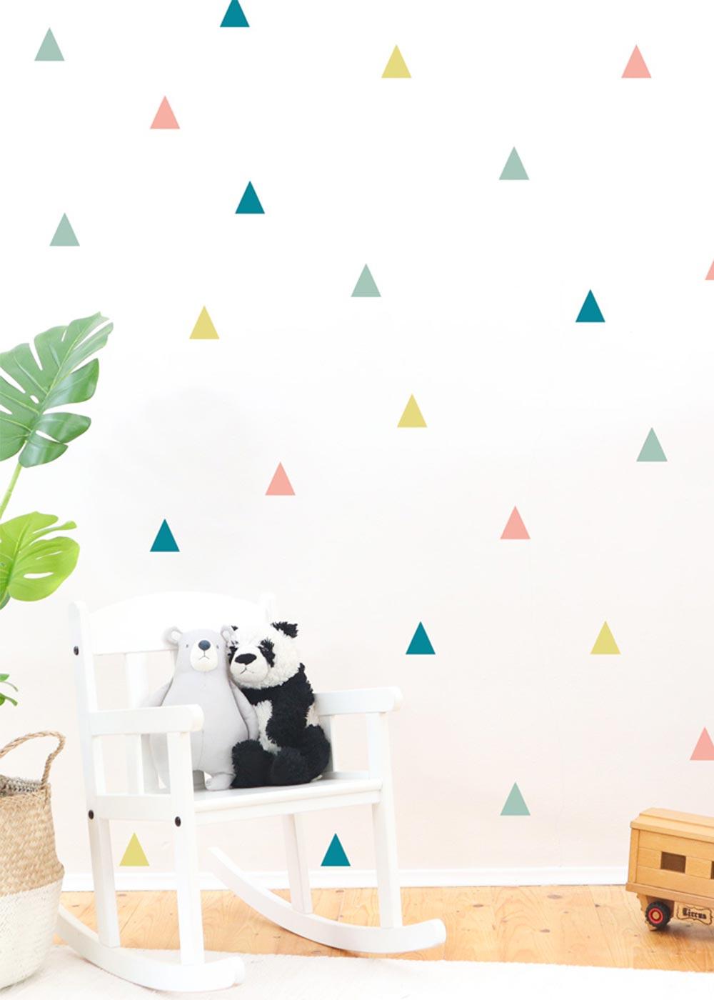 Stickerset Dreiecke Pastell Detailansicht