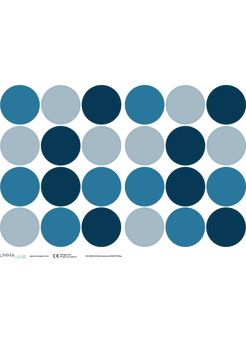 Stickerset Polka dots blau Druckvorlage