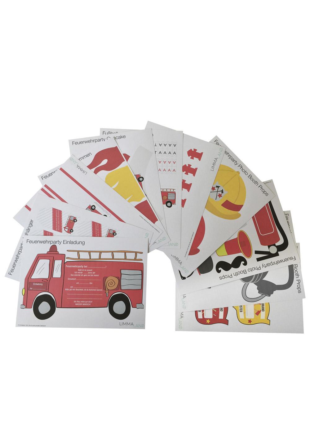 Kindergeburtstag Feuerwehr gesamtes Set