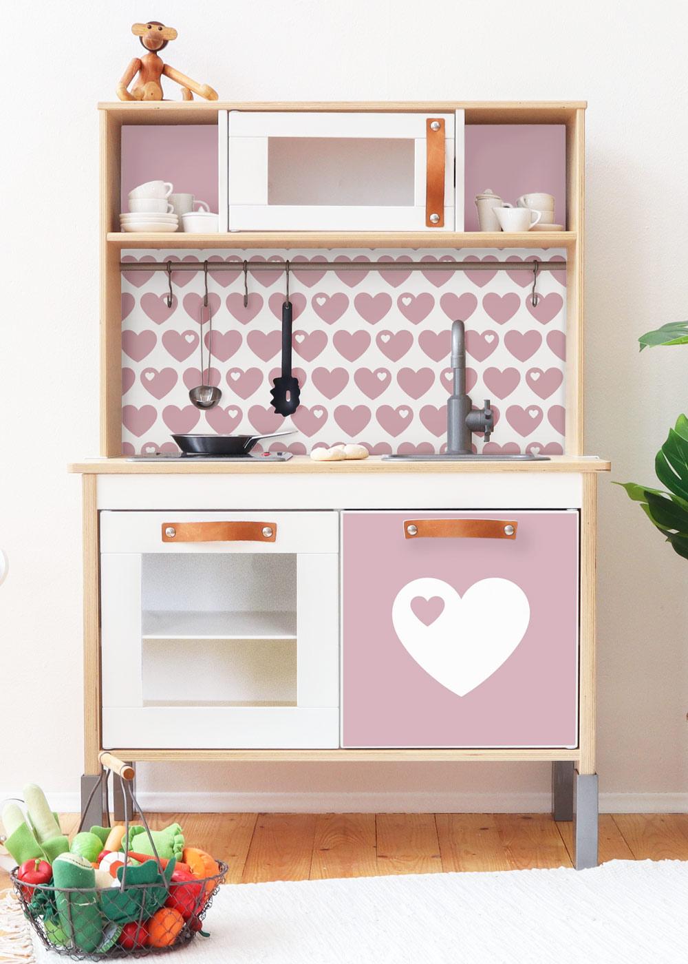 Ikea Duktig Kinderküche Herz ByGraziela altrosa Frontansicht