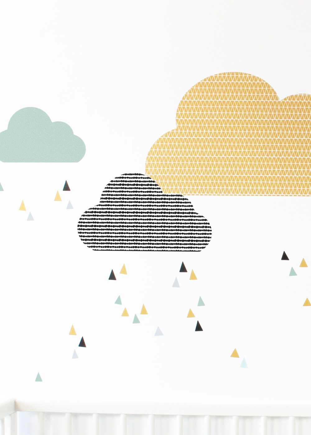 Ikea Mosslanda Bilderleiste Musta Wolken senf  mint Teilansicht Tropfen