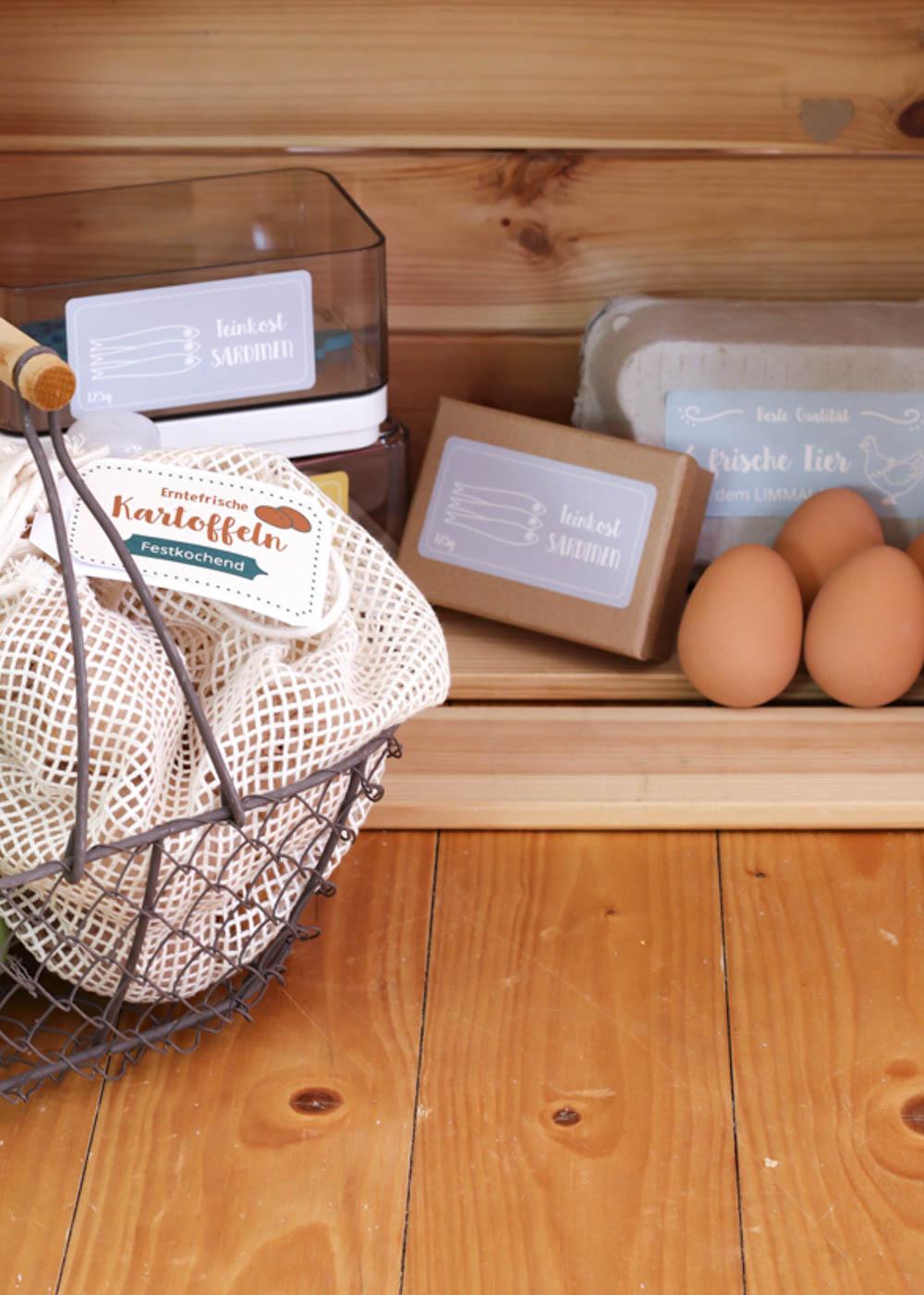 Stickerset Kinderküche Kaufladen Zubehör Läcker Eier