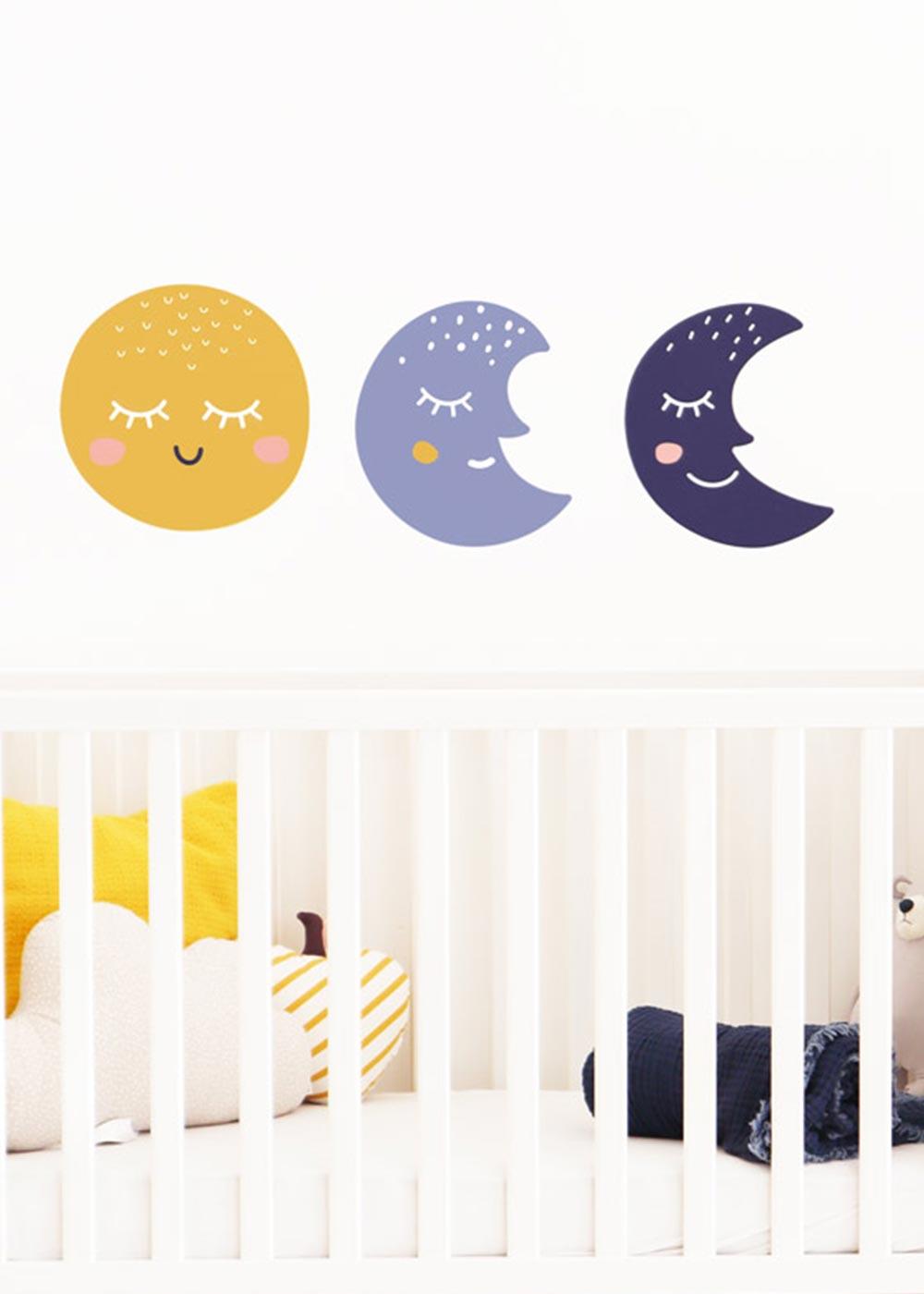 Stickerset Wand Möbel Monde Godnatt Gesamtansicht von vorne
