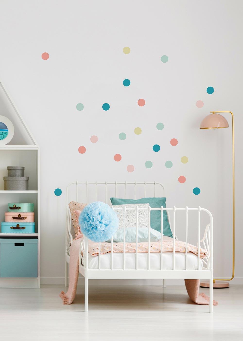 Stickerset Polka dots Pastell Beispiel Kinderzimmerbett