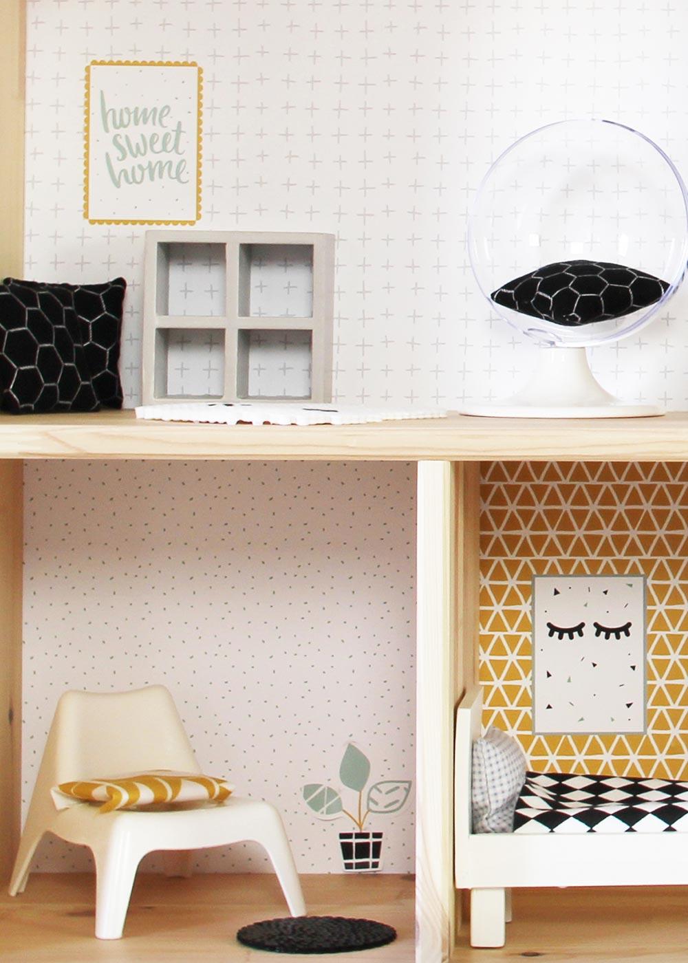 Ikea Flisat Puppenhaus Tapete Lille Stuba mint senf Teilansicht Wohnräume