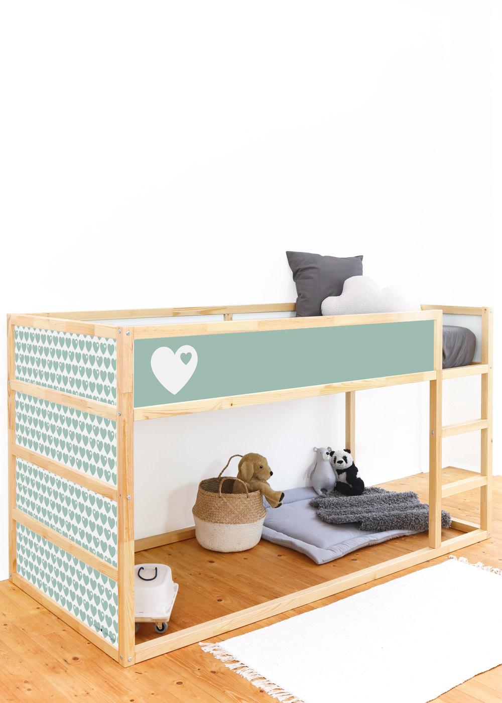 Ikea Kuras Hochbett ByGraziela Herz mint Komplettansicht Seite