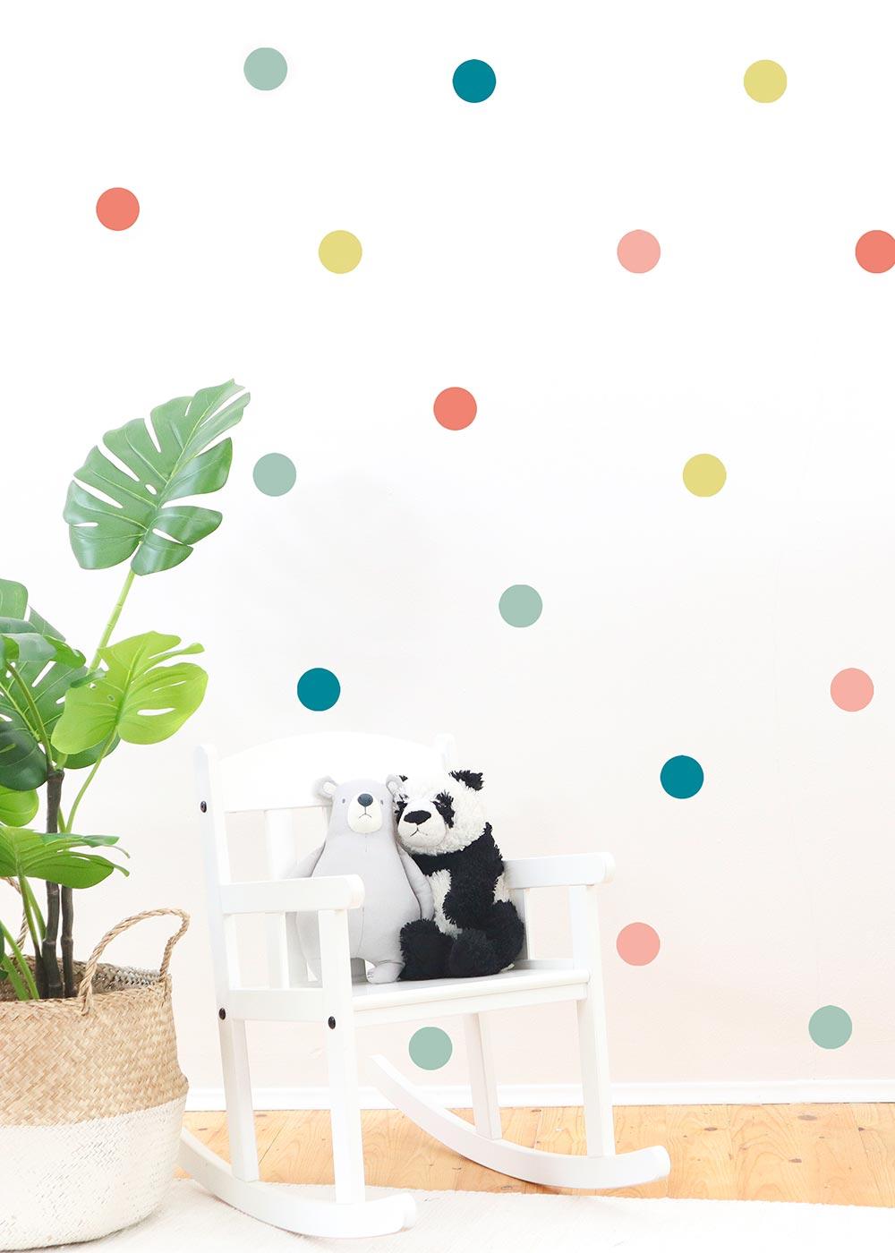 Stickerset Polka dots Pastell Beispiel