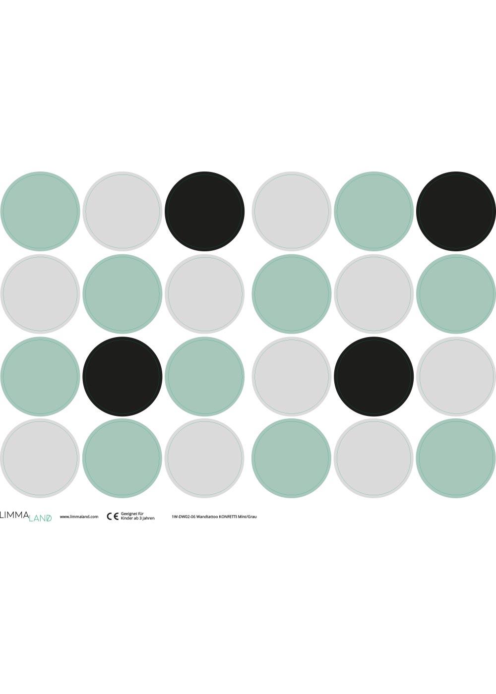 Stickerset Polka dots mint grau Druckvorlage