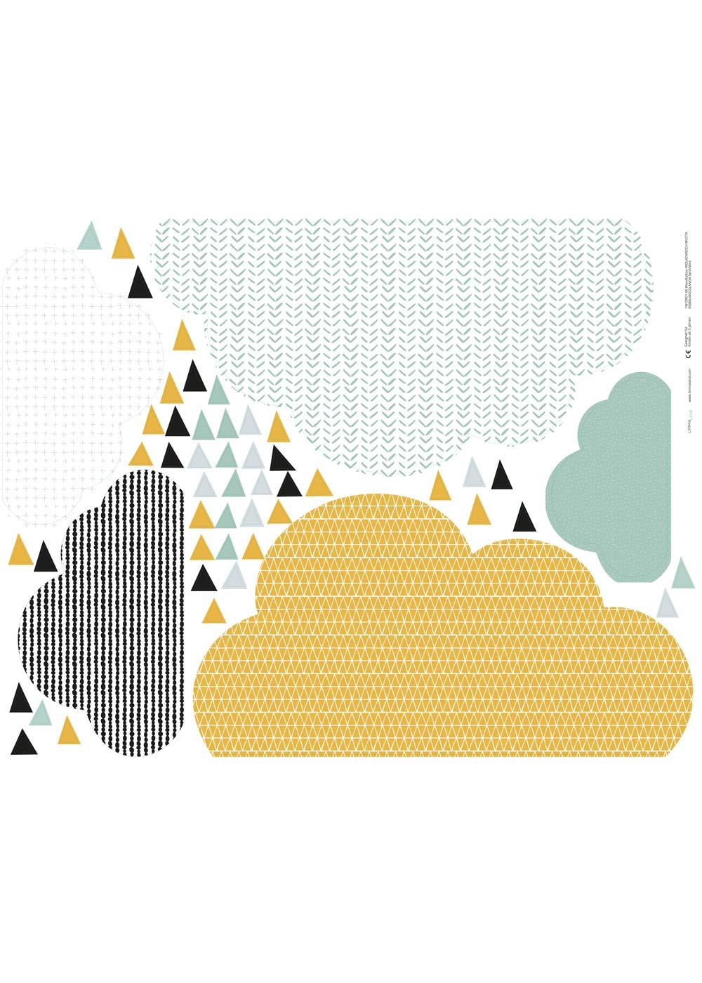 Ikea Mosslanda Bilderleiste Musta Wolken senf  mint Druckvorlage