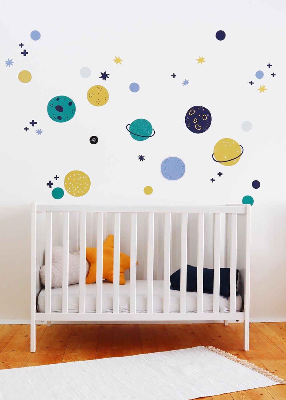 Stickerset Wand Möbel Unendlig Planeten Gesamtansicht vorne
