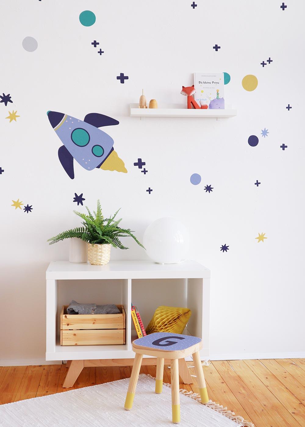 Wand Möbel Stickerset Rakete Unendlig