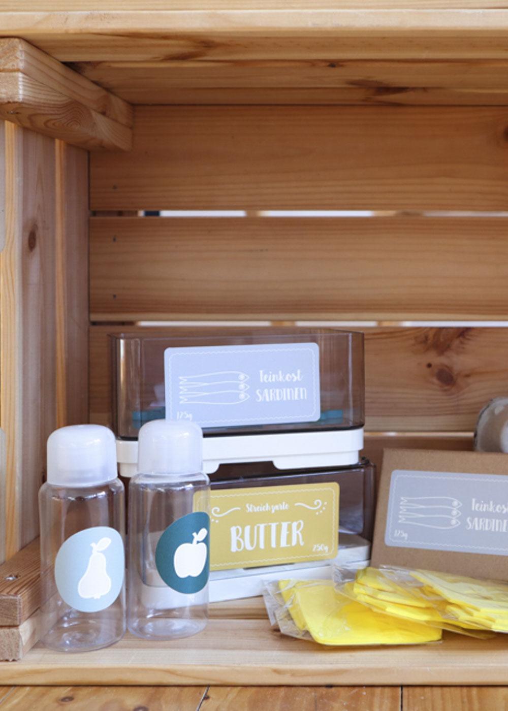 Stickerset Kinderküche Kaufladen Zubehör Läcker Butter