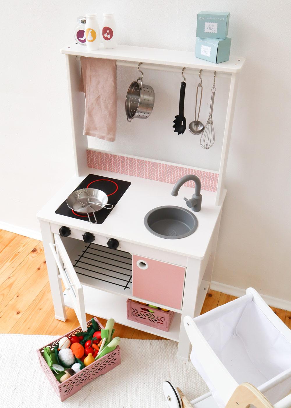Ikea Spisig Kinderküche Skandig Rosa Gesamtansicht oben