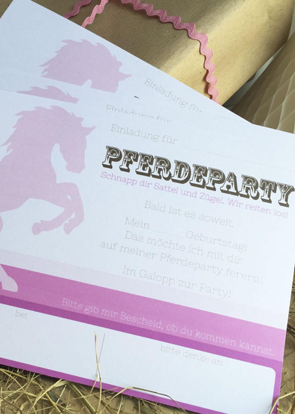 Kindergeburtstag Pferde Einladung
