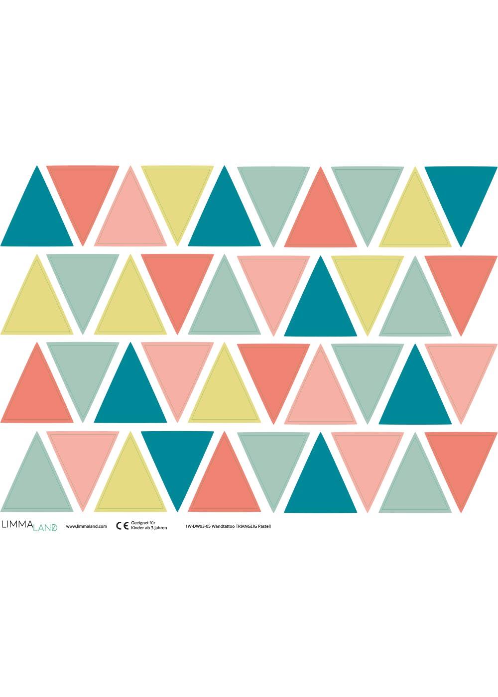 Stickerset Wand Dreiecke pastell Druckvorlage