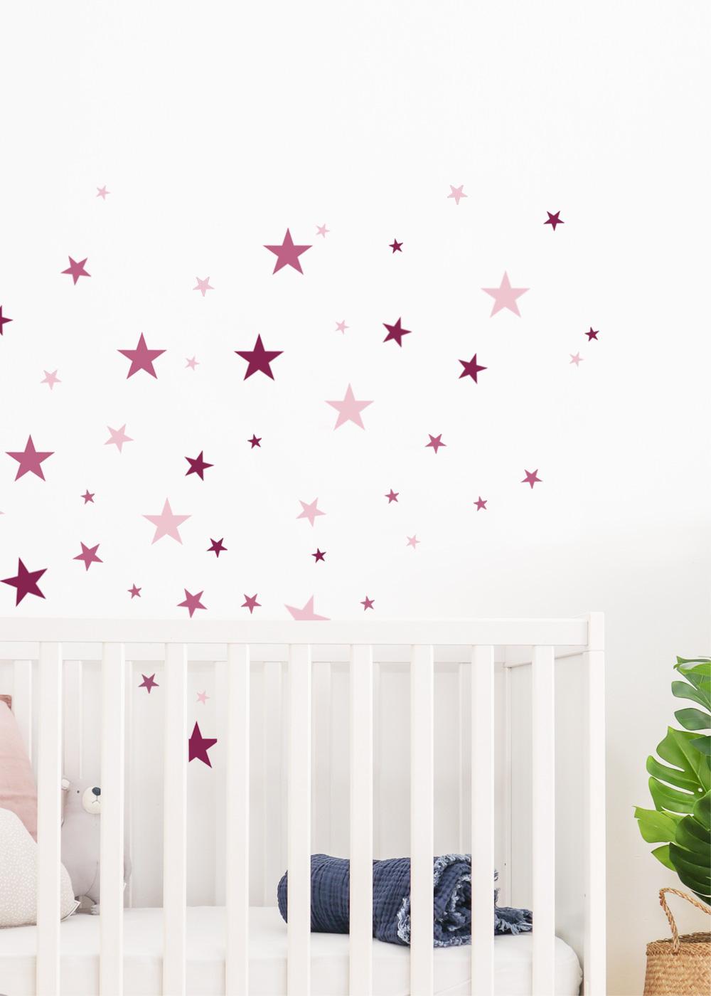 Wandsticker Sterne rosa
