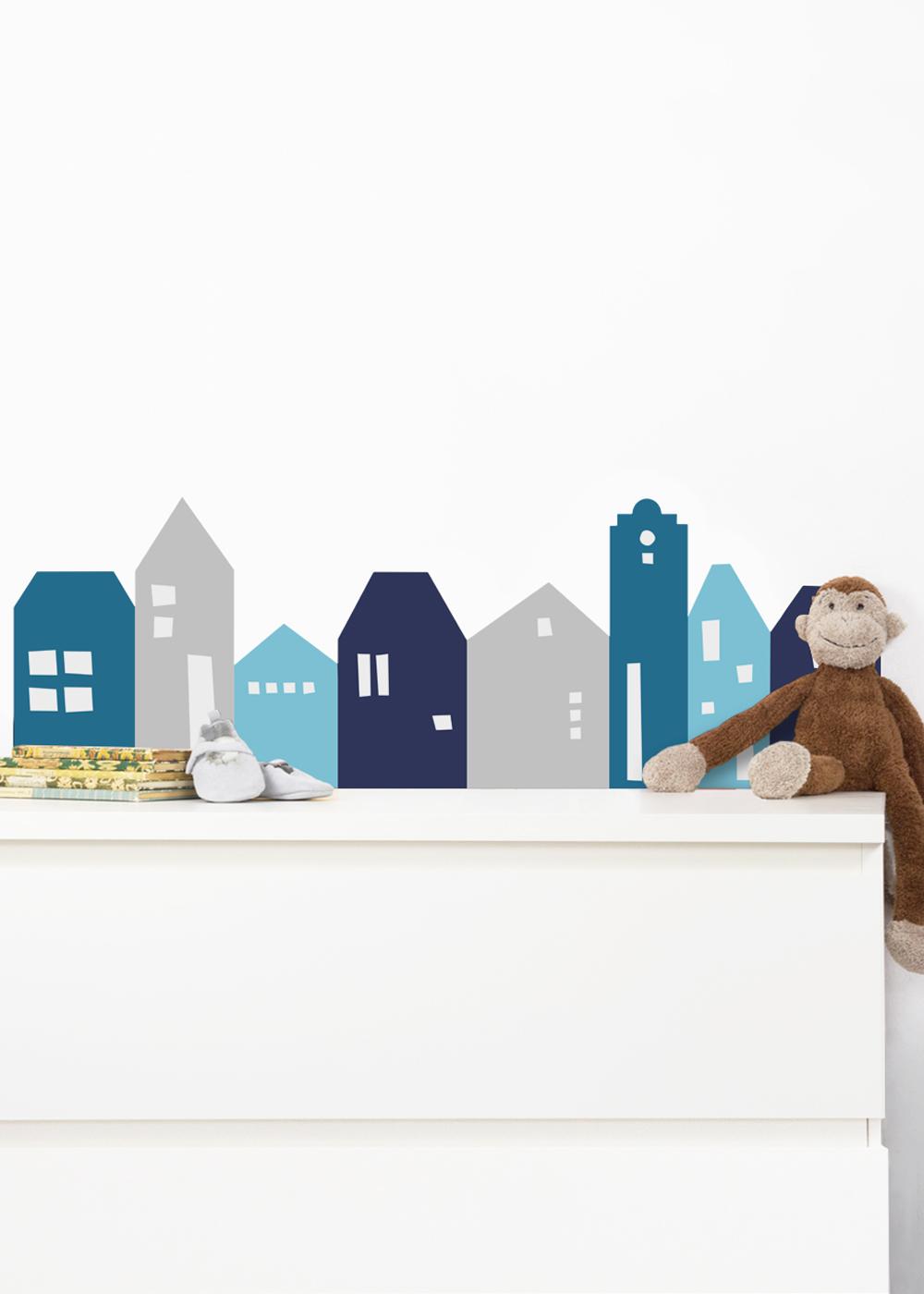 Ikea Mansarp Bilderleiste Lille Hus Blau hellgrau Gesamtansicht