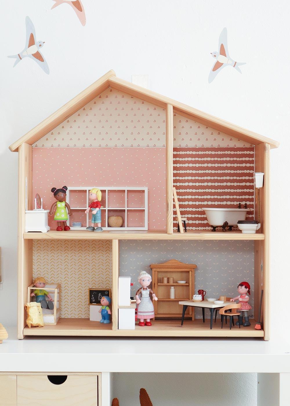 Ikea Flisat Puppenhaus Tapete Lille Stuba rosa camel mit Vögeln