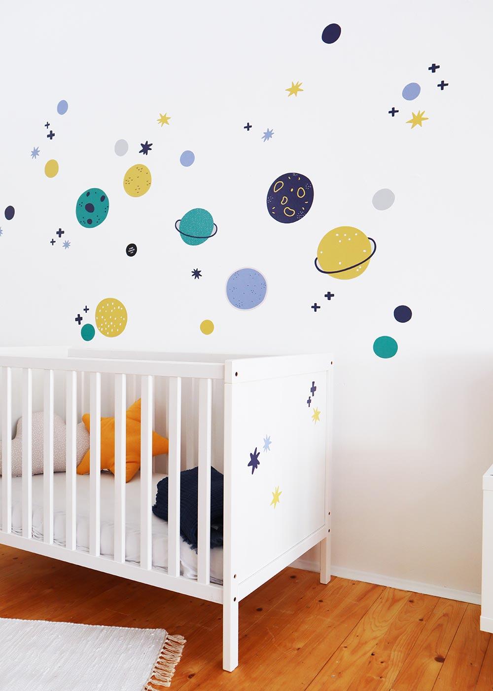 Stickerset Wand Möbel Unendlig Planeten Gesamtansicht