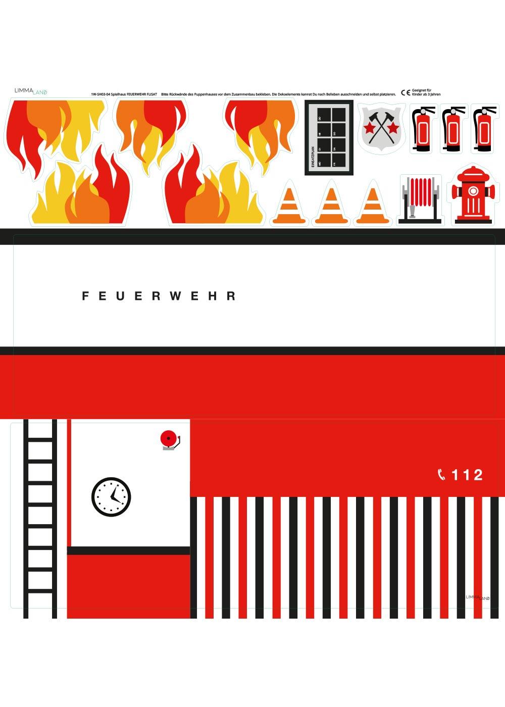 Ikea Flisat Puppenhaus Tapete Feuerwehr Druckvorlage