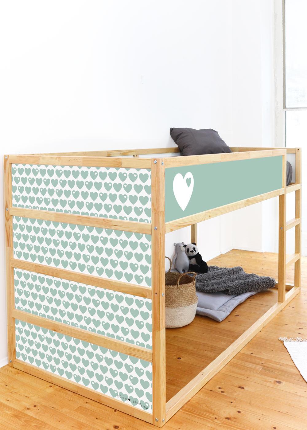 Ikea Kuras Hochbett ByGraziela Herz mint Komplettansicht