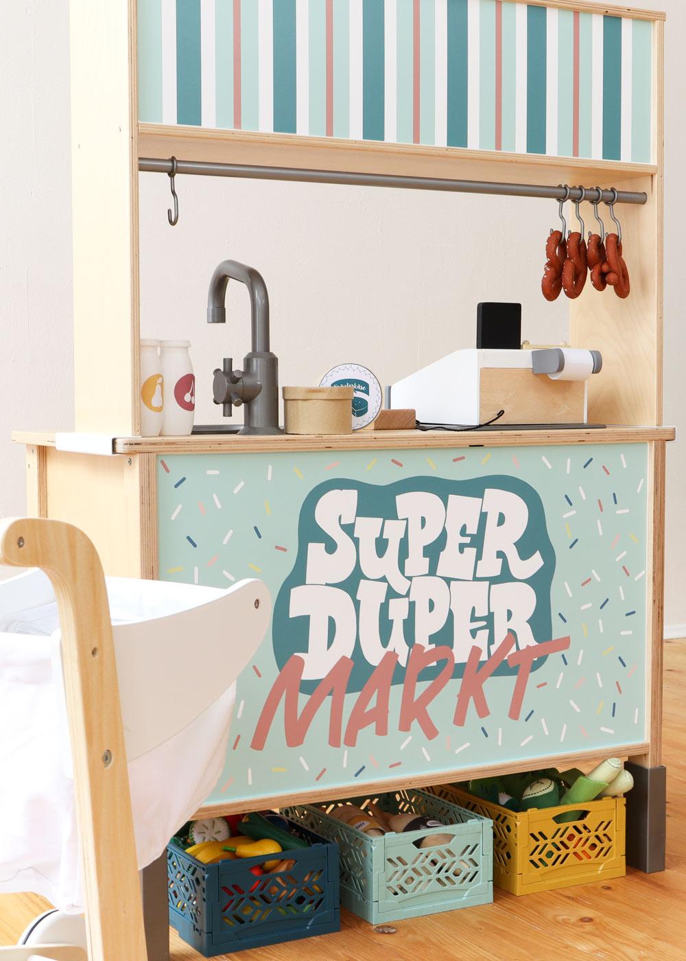 Ikea Kaufladen Duktig Kinderküche Super Duper Mint Teilansicht Einkaufswagen