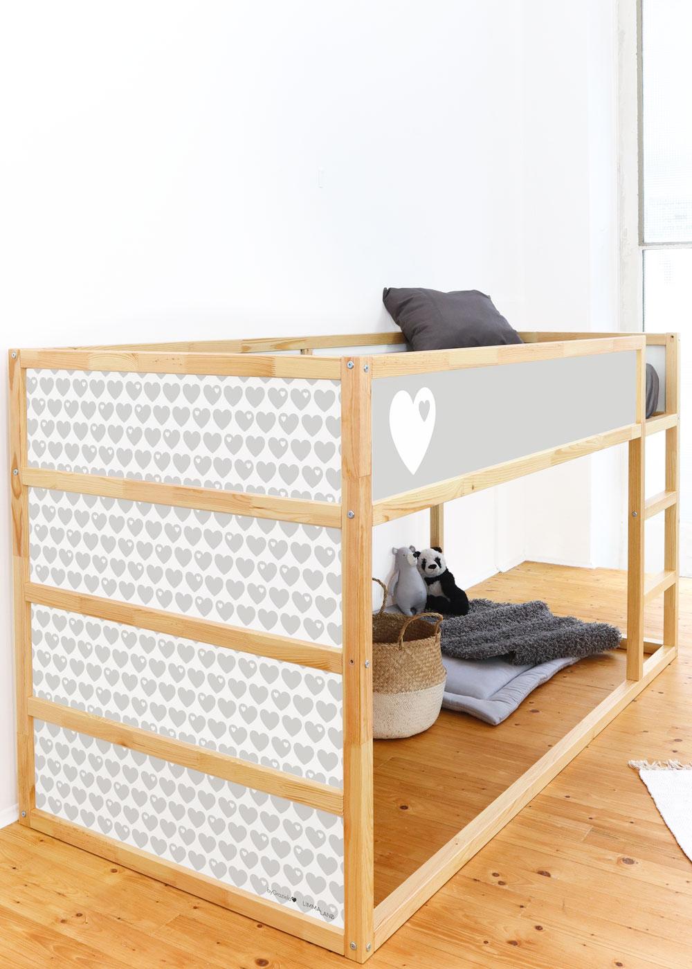 Ikea Kuras Hochbett ByGraziela Herz hellgrau  Komplettansicht