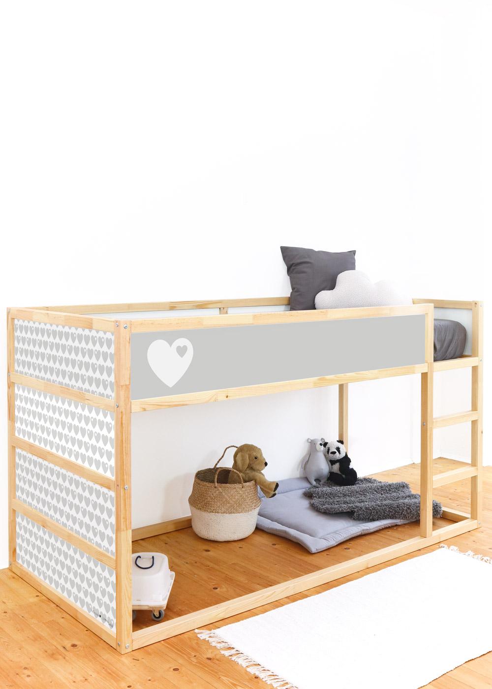Ikea Kuras Hochbett ByGraziela Herz hellgrau  Komplettansicht Seite