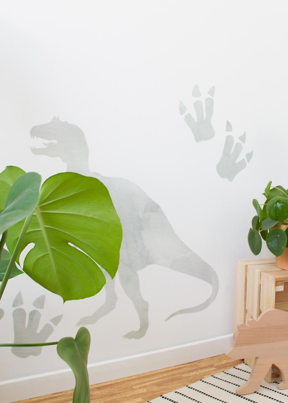 Stickerset Wand Dinosaurier Grün Detailansicht