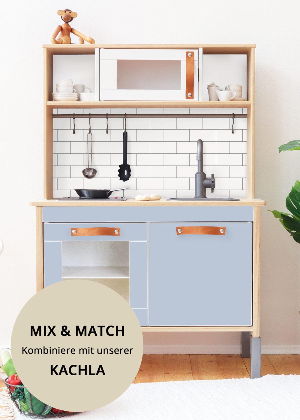Ikea Duktig Kinderküche Frontli Nordisch blau Teilansicht Tür