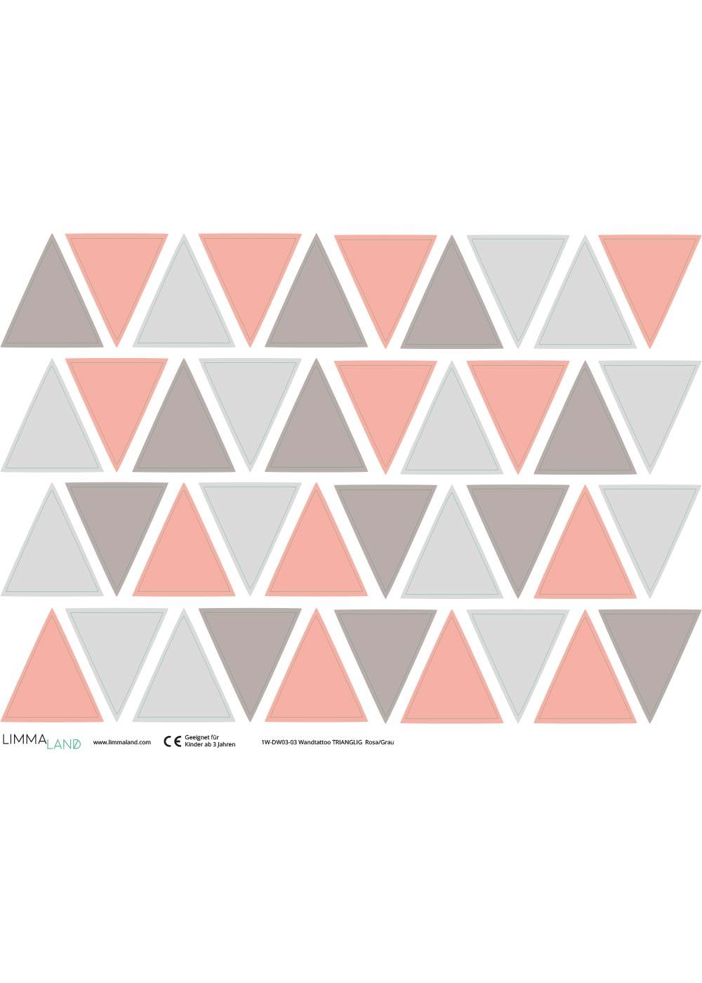 Stickerset Dreiecke rosa grau Druckvorlage