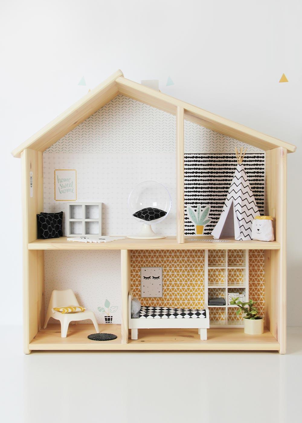 Ikea Flisat Puppenhaus Tapete Lille Stuba mint senf Frontansicht
