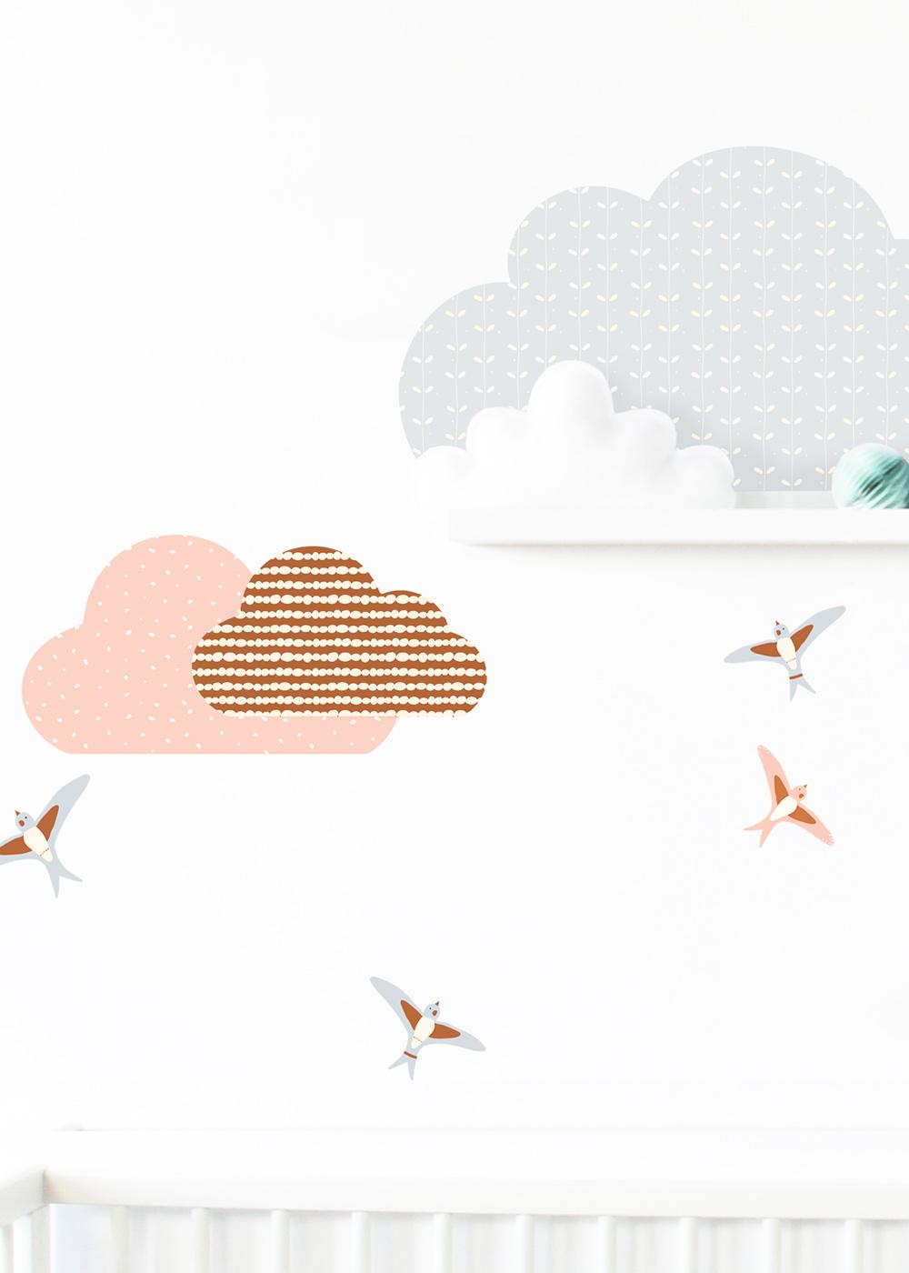 Ikea Mosslanda Bilderleiste Musta Wolken rose camel Teilansicht Vögel