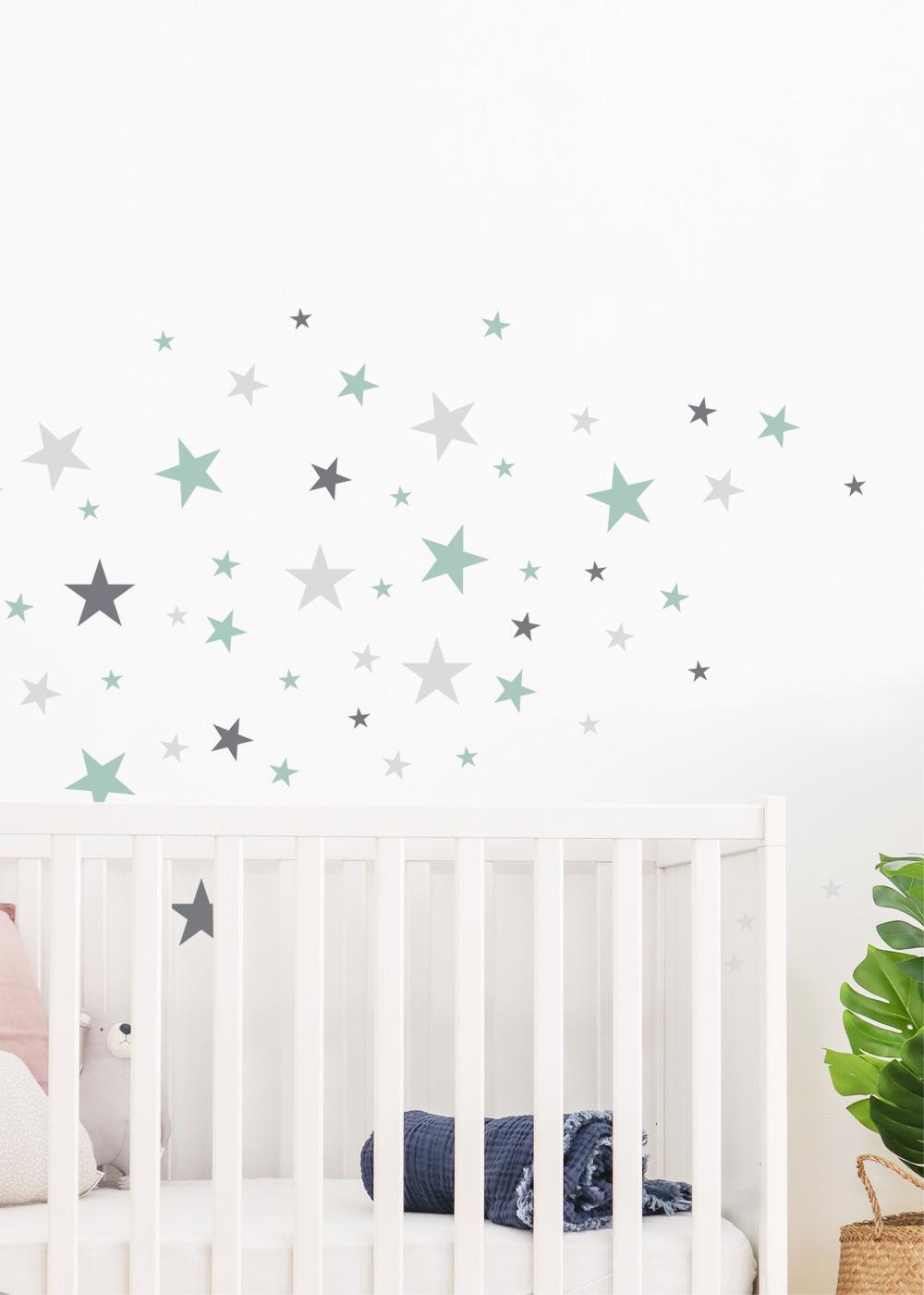 Stickerset Sterne mint grau Detailansicht